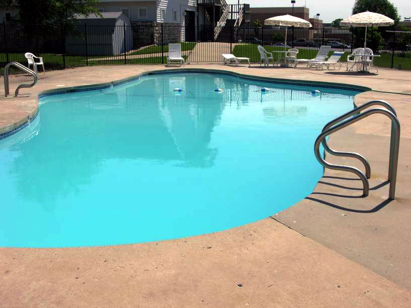 This is the pool where the party will be.